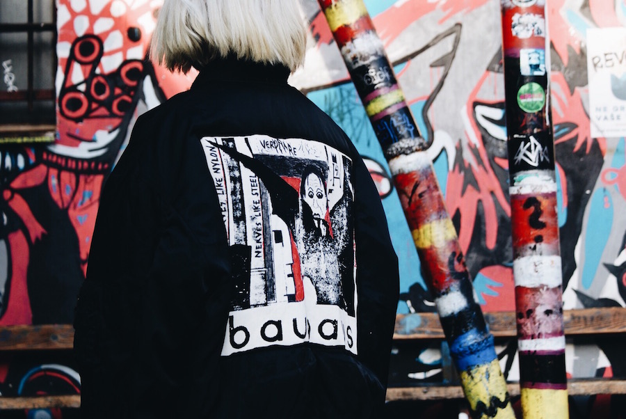 VERY RARE bauhaus bomber jacket hand painted by sven harambasic