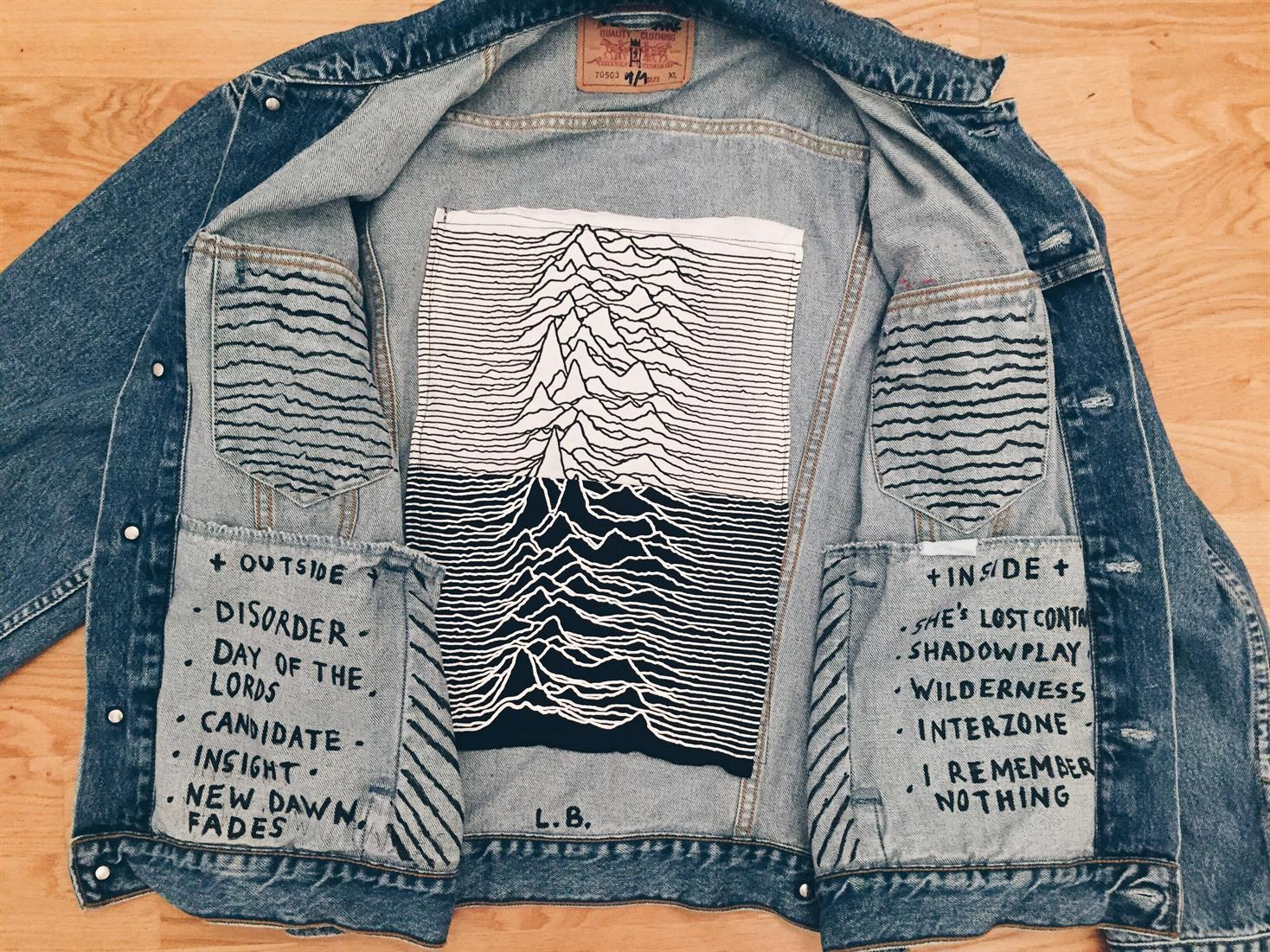 VERY RARE Joy division unknown pleasures denim jacket - by sven harambasic