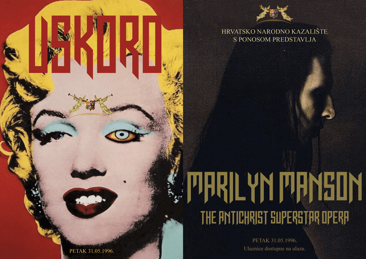 marilyn manson in croatian national theatre, poster by sven harambasic for very rare